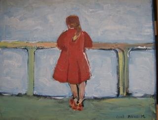 Het rode jasje. ( Eigen werk, acryl op doek) .