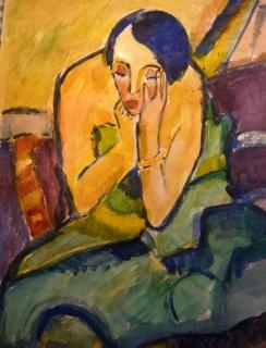 Aquarel naar Peinzende vrouw van Karl Schmidt-Rotluff