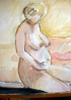 Opzet van een zwanger naakt.