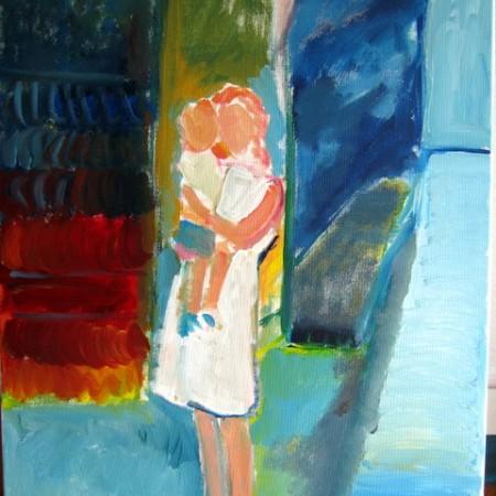 Hard aan het werk met nieuw schilderij