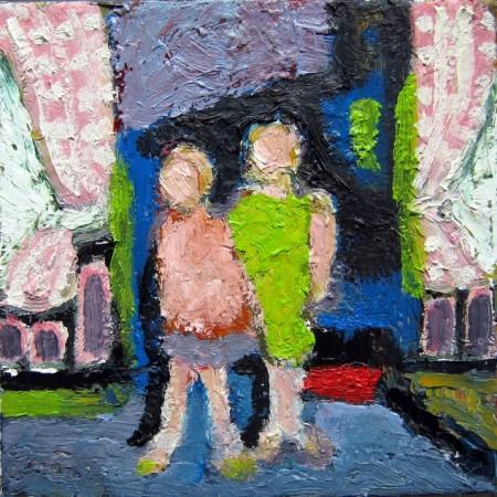 Zusjes, olie op doek, 20×20