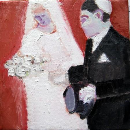 Joodse bruidegom met rode achtergrond.
