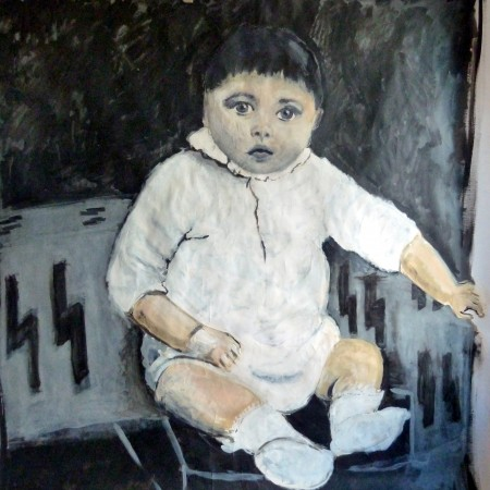 Kleine Adolf, acryl op papier 150×150