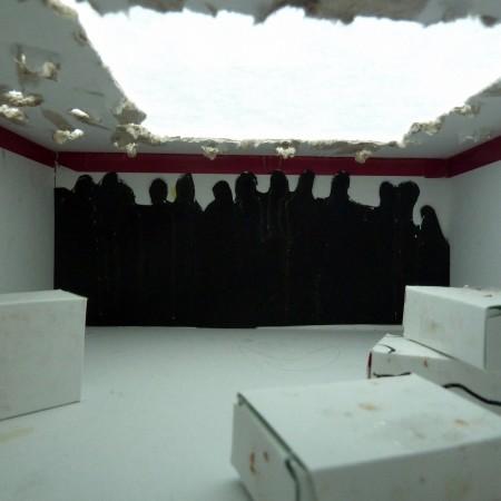 De opdracht : werken met karton, uitgevoerd in twee kijkdozen.