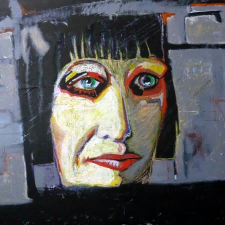 Eindfase derde zelfportret gemengde techniek op doek 100×120