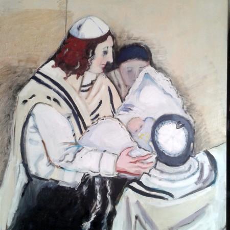 Brith Milah (olie op doek 90×120)