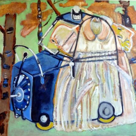 Gasvrije kinderwagen i.b.v. het Koninklijk Huis en bevrijdingsjurkje (olie op doek)